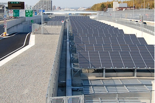 Photovoltaic panels installed in the Expressway area (Mei-Nikan Expressway)