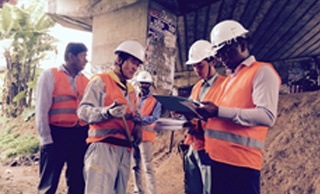 Our group employees who provide technical support for bridge maintenance in Sri Lanka