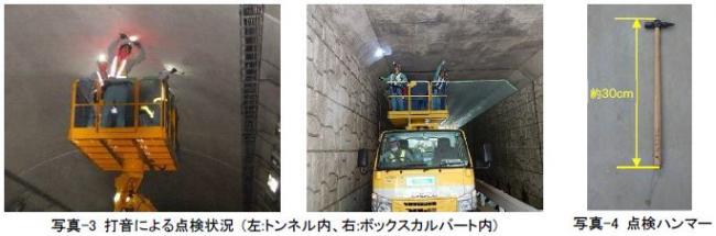 写真-3 打音による点検状況 (左:トンネル内、右:ボックスカルバート内)写真-4 点検ハンマー