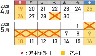 休日割引適用日